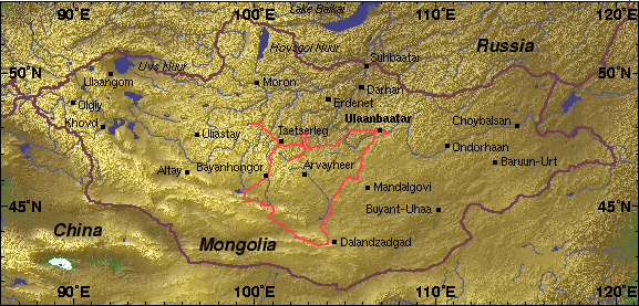 Mongolia map showing expedition track